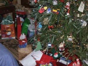 pets and christmas tree